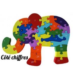 Puzzle en bois 3D ludique, côté chiffres, modèle éléphant