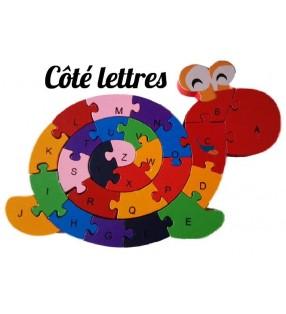Puzzle en bois 3D ludique, côté lettres, modèle escargot