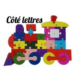 Puzzle en bois 3D ludique, côté lettres, modèle locomotive