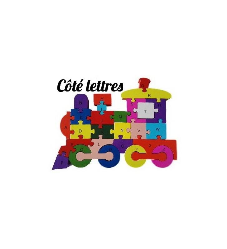 Alphabet AURSTORE BASA Le Train des Lettres 27pcs en Bois Alphabet-Jouet pour Enfant