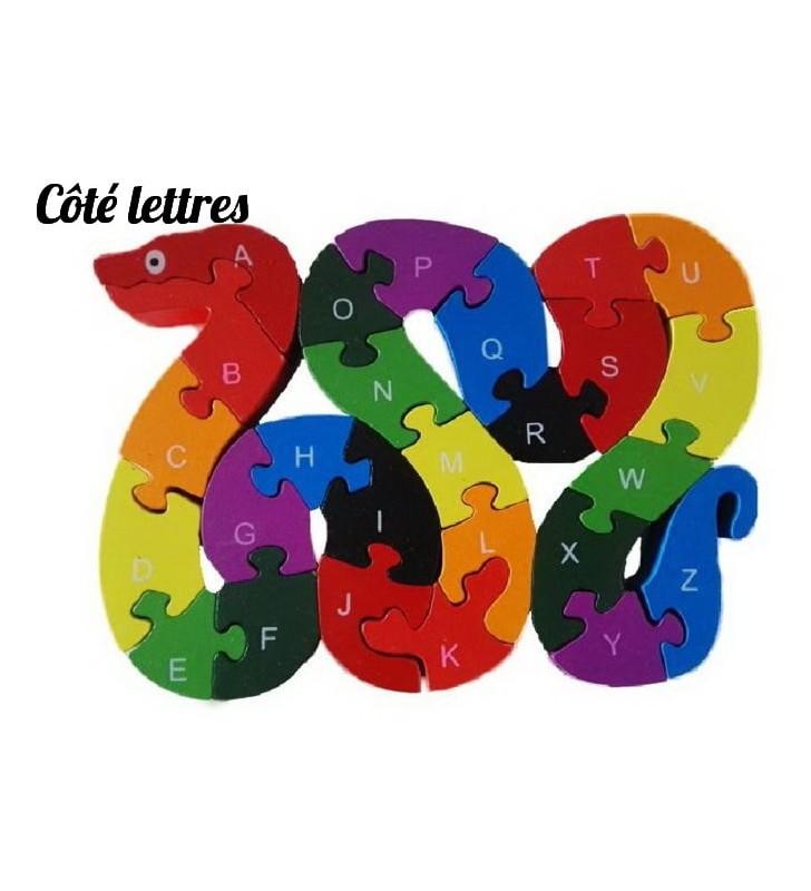 Puzzle en bois 3D ludique, côté lettres, modèle serpent