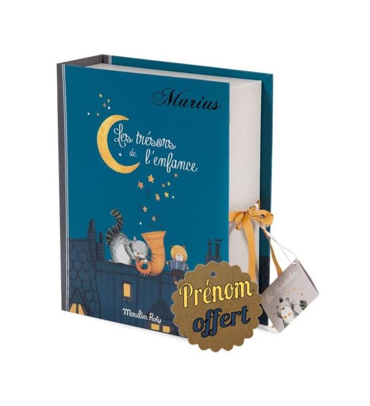 """Coffret naissance avec prénom Moulin Roty, collection """"Les Moustaches"""""""