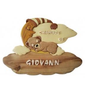 Plaque de porte de chambre en bois, ourson dormeur