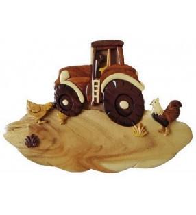 Plaque de porte prénom en bois, Tracteur à la ferme