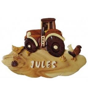 Plaque de porte prénom en bois personnalisée, Tracteur à la ferme