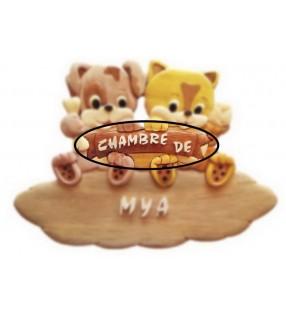 Plaque de porte en bois pour chambre d'enfant, modèle Chiot / Chaton