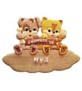 Plaque de porte de chambre en bois, Chiot / Chaton