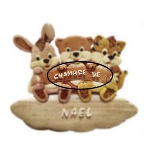 Plaque de porte en bois pour chambre d'enfant, modèle Lapin, Ours, Chat