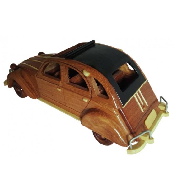 Maquette de voiture en bois, 2 CV Citroën