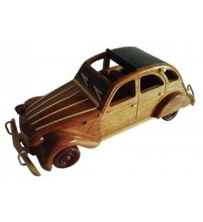 Maquette de 2 CV Citroën en bois, modèle pare-brise noir