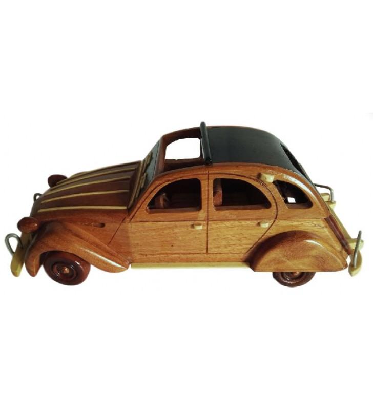 Maquette de 2 CV Citroën en bois, déco collectionneurs