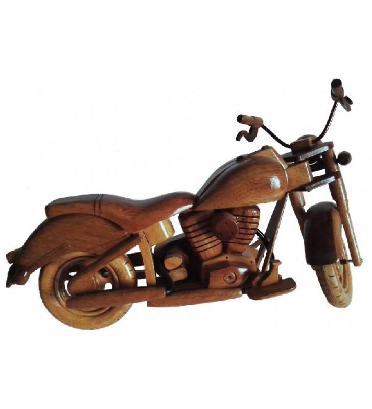 Maquette de moto en bois, modèle Harley, pour collectionneurs