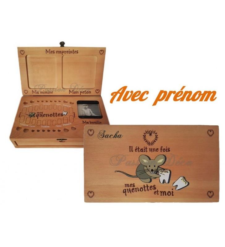 Boîte à dents de lait COUNTRY CASA, empreintes et bracelet naissance, personnalisée au prénom de l'enfant