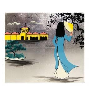 Tableau laqué asiatique - Vietnamienne - fond argenté -15 cm x 15 cm