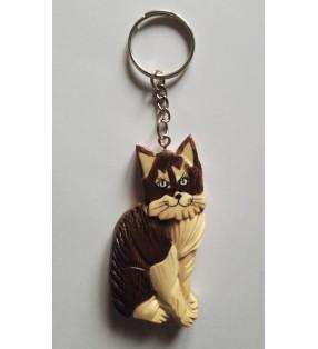 Porte-clés en bois décoratif, modèle Chat angora