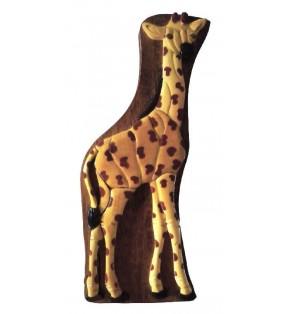 Boîte puzzle secrète à bijoux en bois intarsia, Girafe