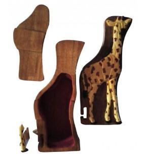 Intérieur de la boîte puzzle secrète à bijoux en bois intarsia, Girafe