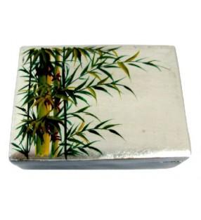 Boîte à bijoux en bois laqué motif bambou