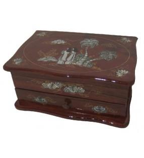 Boîte à bijoux en bois et nacre, motif asiatique, bois clair