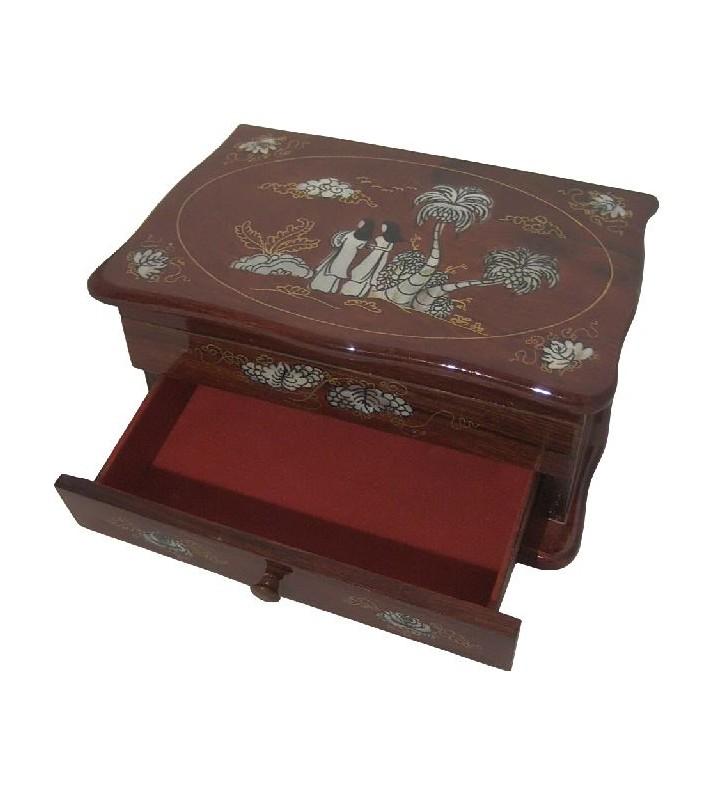 Intérieur de la boîte à bijoux en bois et nacre, motif asiatique, bois clair