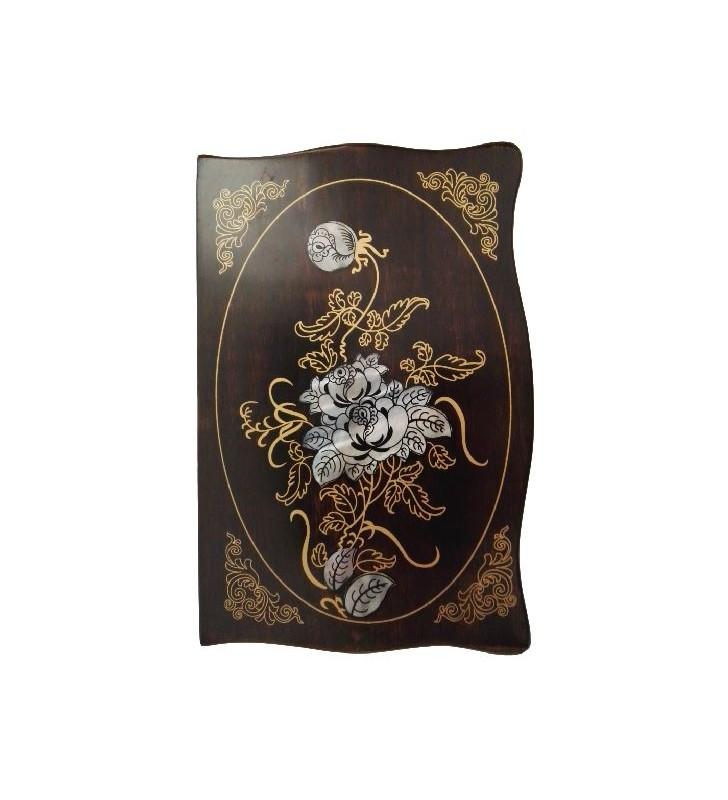 Boîte à bijoux en bois avec motif floral nacré