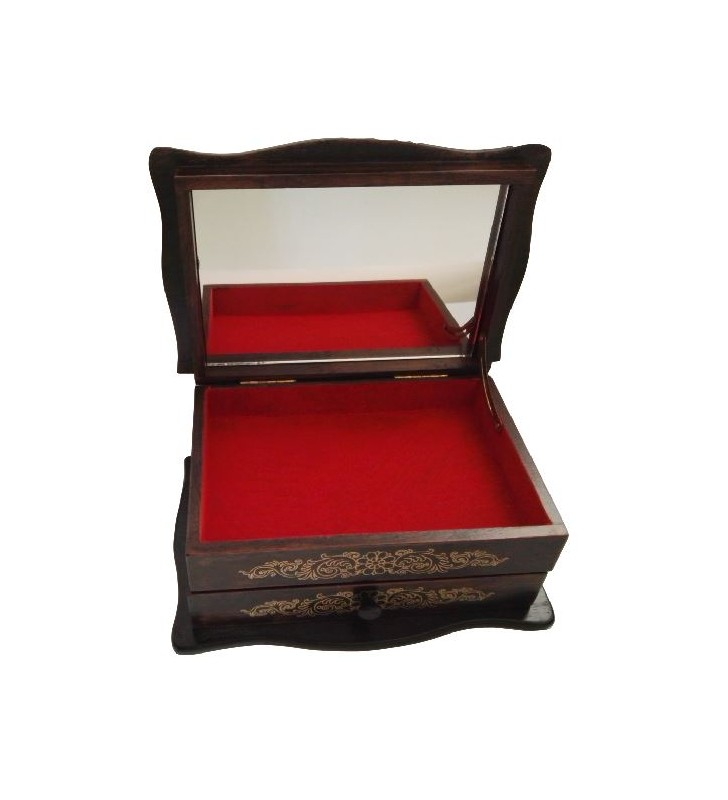 Boîte à bijoux en bois avec miroir et intérieur tapissé de feutrine