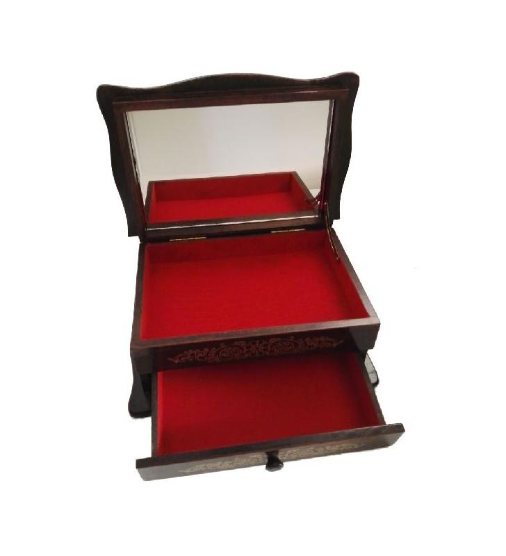 Boîte à bijoux en bois avec tiroirs et miroir