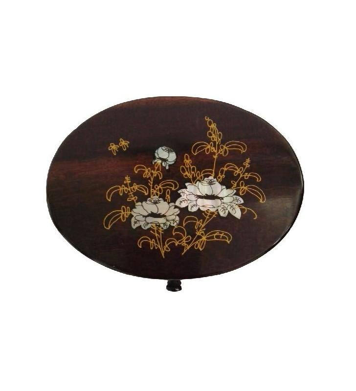 Boîte à bijoux en bois et nacre, motif floral