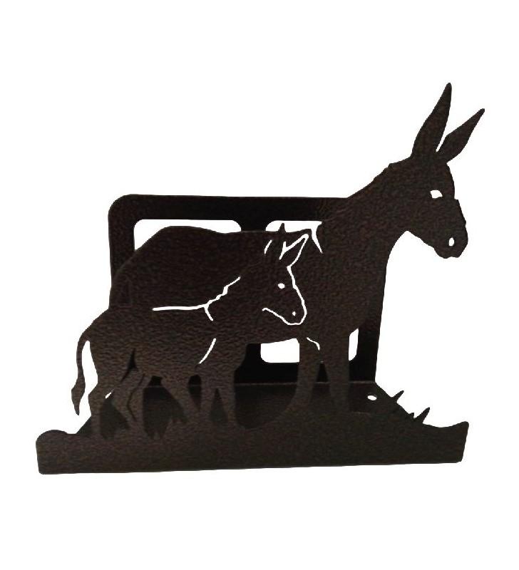 Porte-courrier en métal, motif âne et son ânon