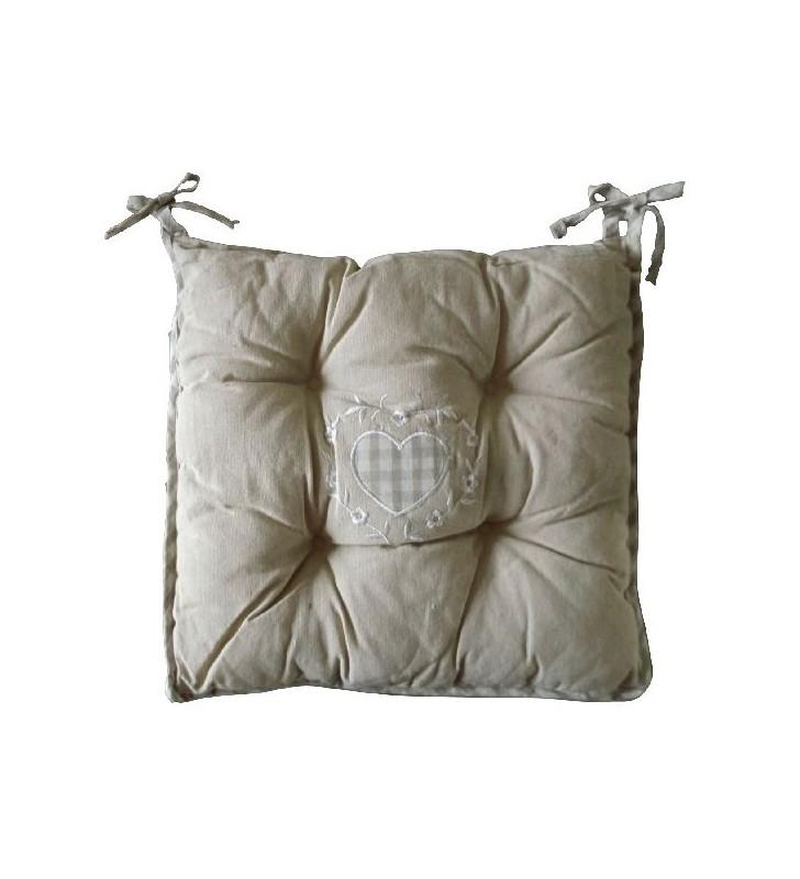 Coussin de chaise capitonné et réversible en lin beige