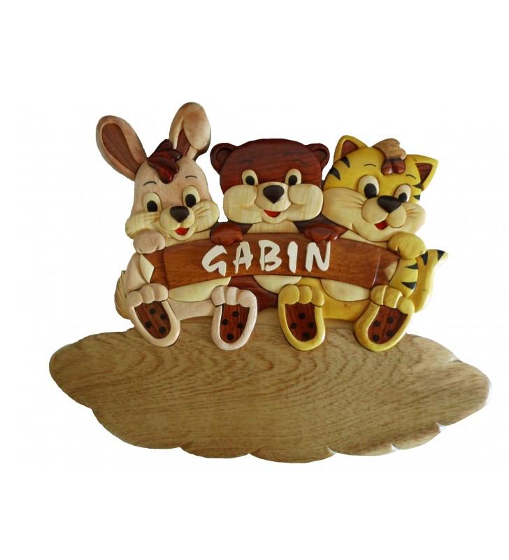 Plaque de porte prénom en bois, Lapin, Ours, Chat