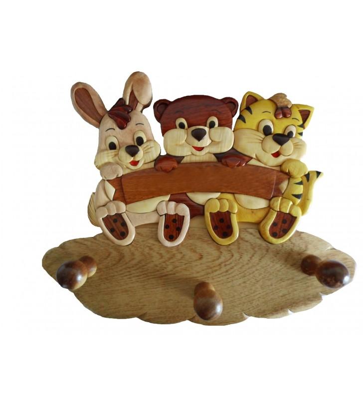 Porte-manteau prénom en bois, Lapin, Ours et Chat