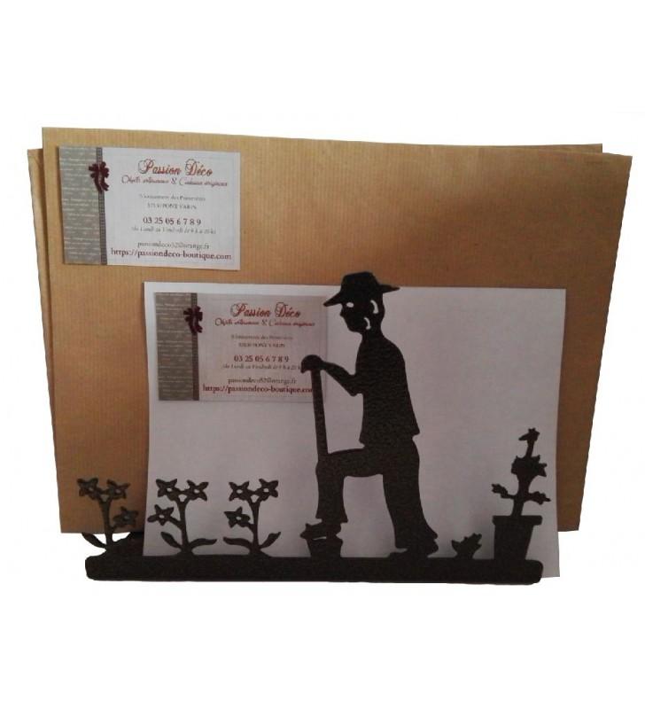 Porte-lettres en métal, décor Jardinier