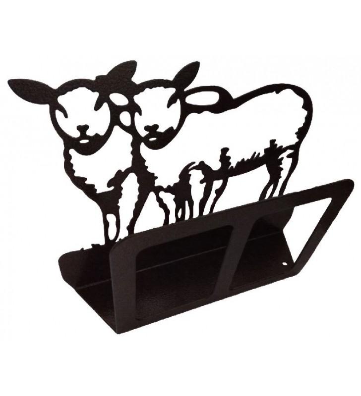 Porte-courrier original en fer, décor Moutons