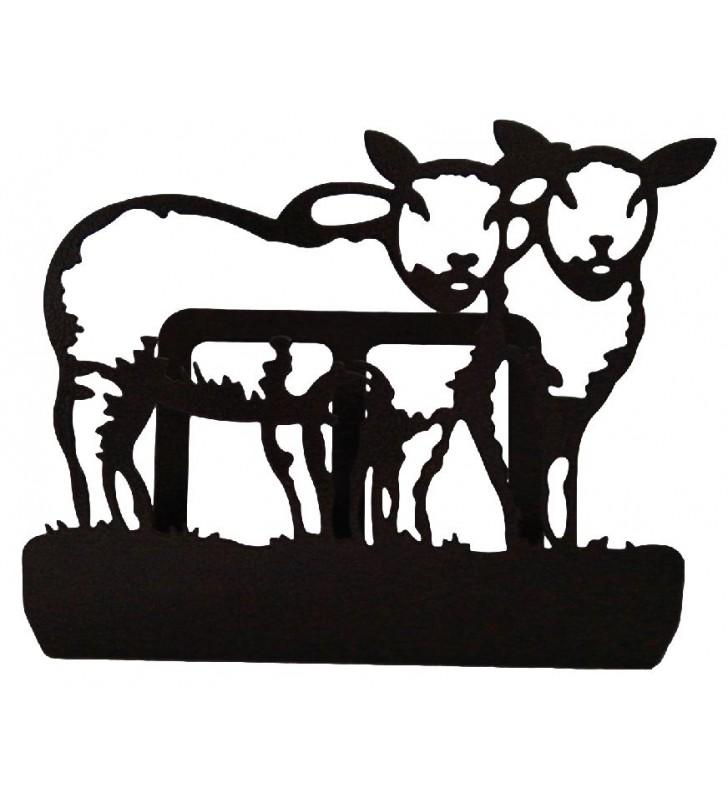 Porte-courrier en métal, décor Moutons