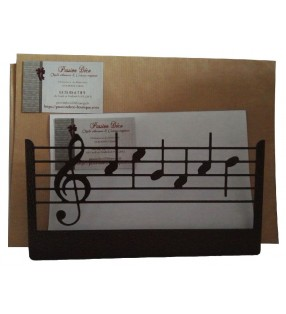 Porte-lettres en métal, décor Notes de musique