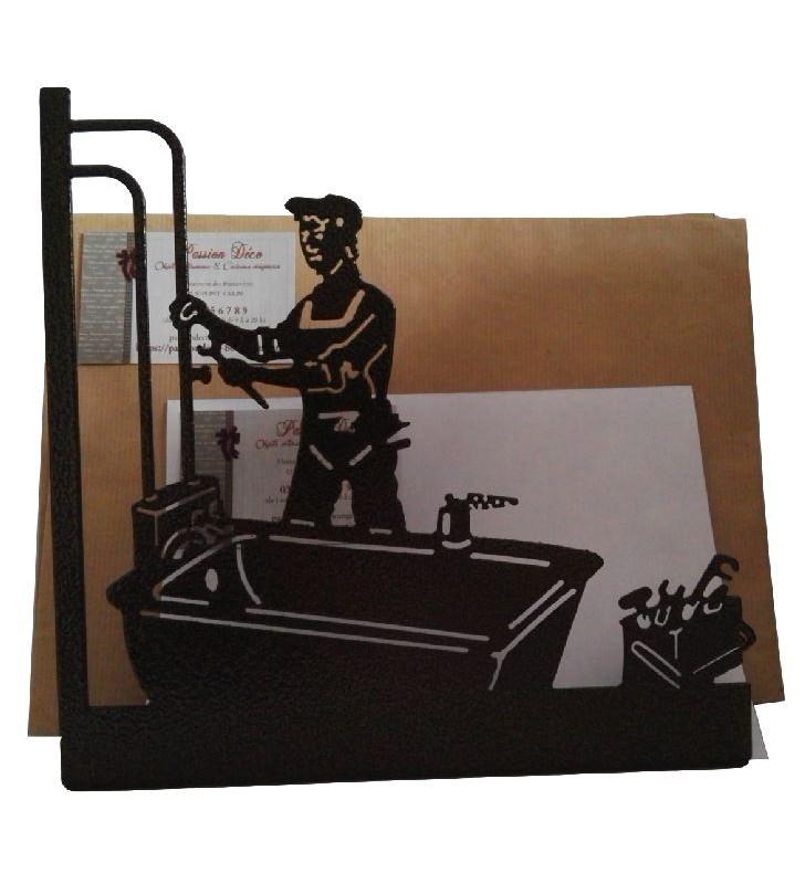 Porte-lettres en métal, décor Plombier