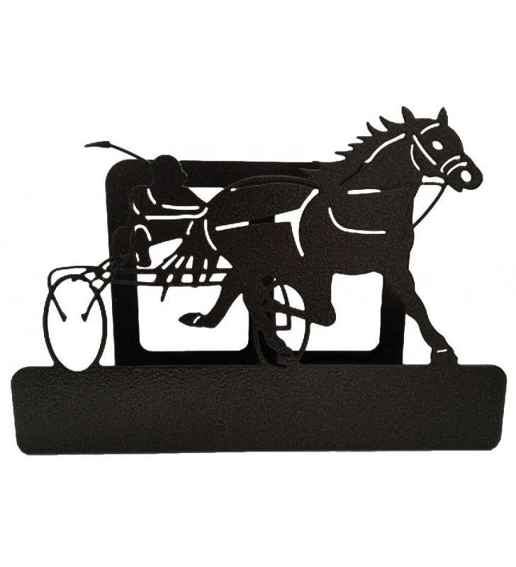 Porte-courrier en métal, décor Cheval au sulky