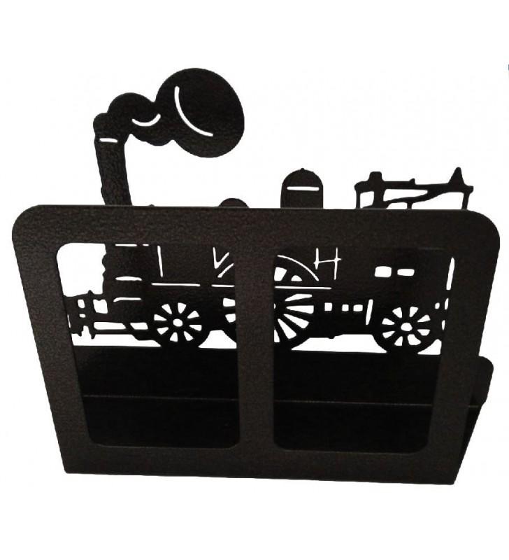 Porte-courrier mural en métal, décor Locomotive à vapeur
