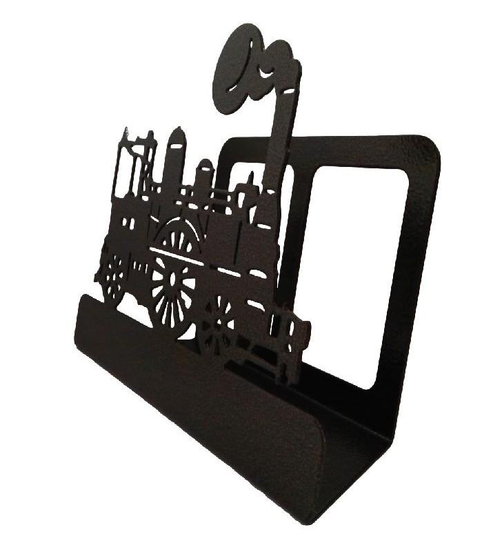 Porte-courrier en fer, décor Locomotive à vapeur