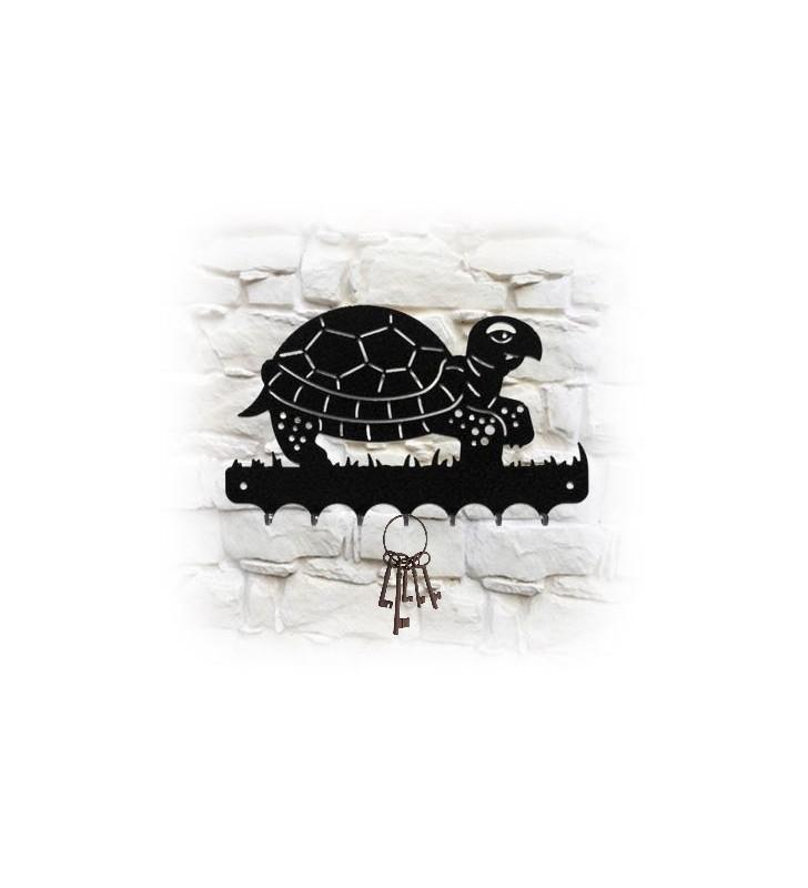 Accroche-clés mural en métal, motif Tortue