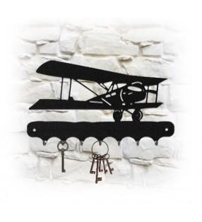 Accroche-clés mural en métal, décor Avion 14-18