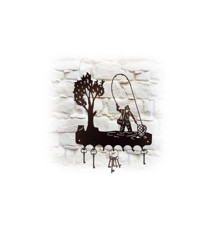 Accroche-clés mural en métal, décor pêcheur à l'épuisette
