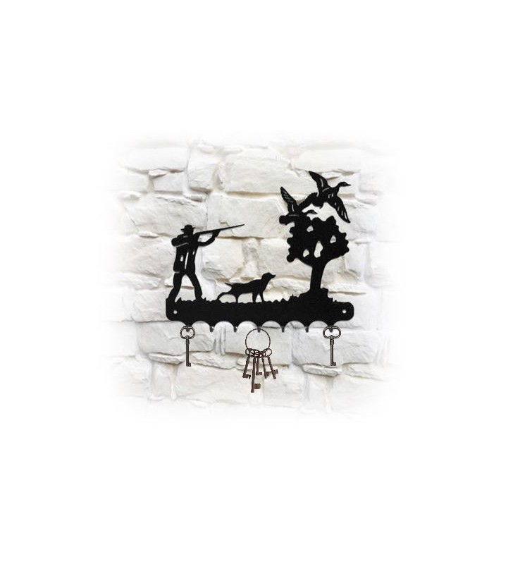 Accroche-clés mural en métal, décor Chasseur et canards