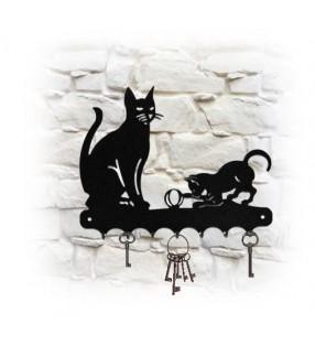 Accroche-clés mural en métal, décor Chat et son chaton