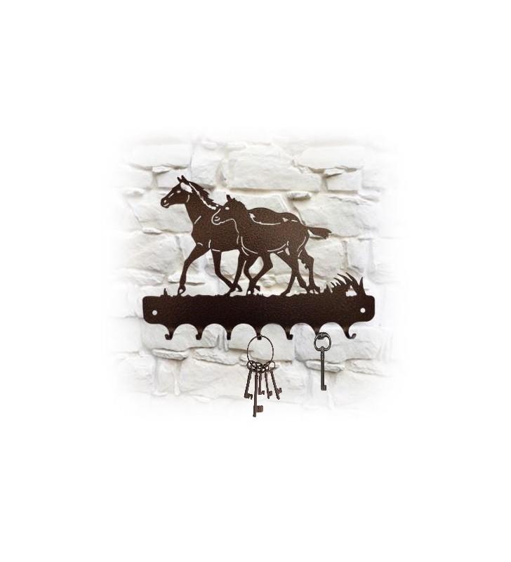 Accroche-clés mural en métal, décor Jument et son poulain