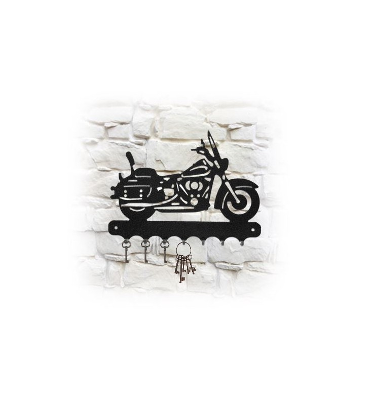 Accroche-clés mural en métal, décor Moto Harley