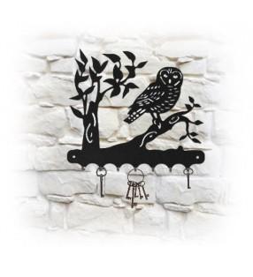 Accroche-clés mural en métal, décor Chouette sur sa branche