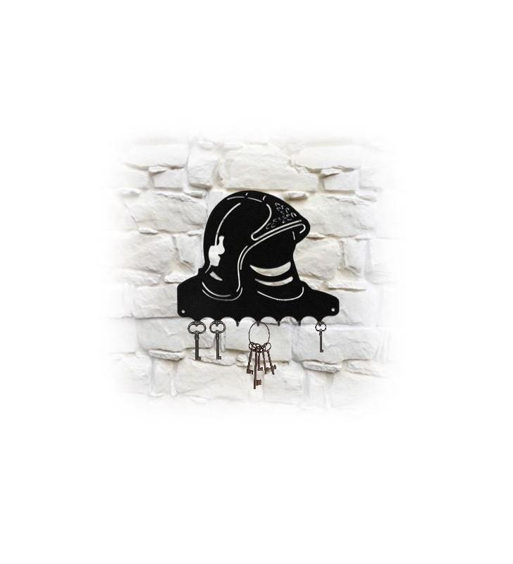 Accroche-clés mural en métal, décor Casque de pompier F1