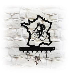 Accroche-clés mural en métal, décor Le tour de France
